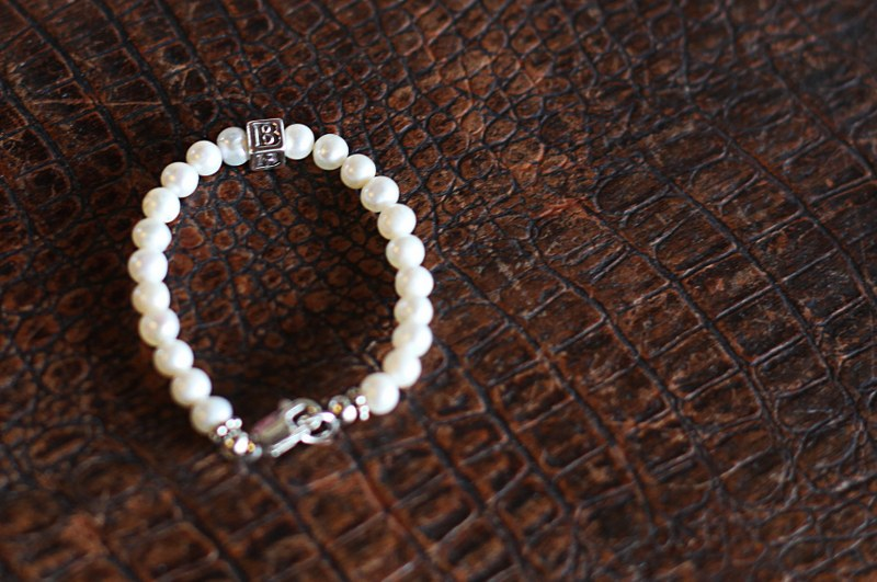 Small Initial/Pearl Bracelet