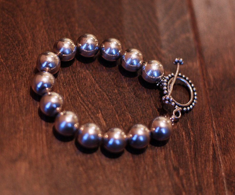 Silver Bead Bracelet (large beads)
